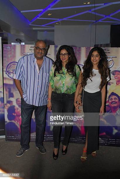 Bollywood actor Sridevi along with her husband Boney Kapoor and daughter Jhanvi during the screening of Marathi film Tapaal on September 20 2014 in...