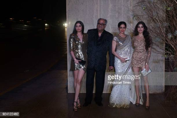 Bollywood actor Sridevi and Boney Kapoor with daughters Jhanvi Kapoor and Khushi Kapoor attended a party hosted by Karan Johar for the 50th birthday...