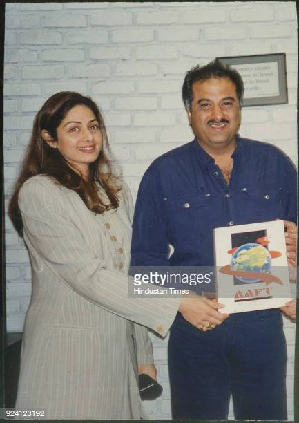 Bollywood actor Sridevi and film producer and director Boney Kapoor during an inaugural function on February 13 in Mumbai India Sridevi the actor...