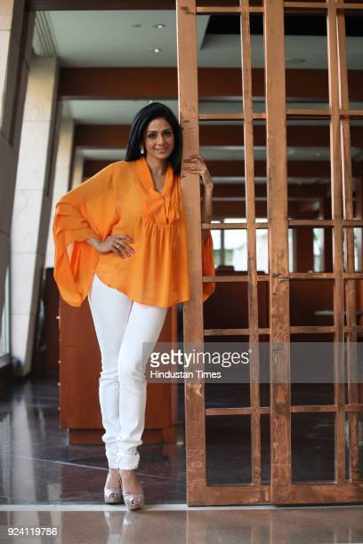 Bollywood actor Sridevi at a press conference for the promotion of upcoming film English Vinglish at PVR Directors Cut Vasantkunj on October 1 in New...