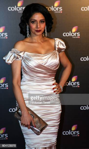 Bollywood actor Sridevi attends 4th Anniversary Party of Colors channel at Grand Hyatt on February 2 in Mumbai India Sridevi the actor wife of...