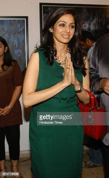 Bollywood actor Sridevi during the JP Singhal Art exhibition at Jehangir Art Gallery at Kala Ghoda on February 24 2010 in Mumbai India Sridevi the...