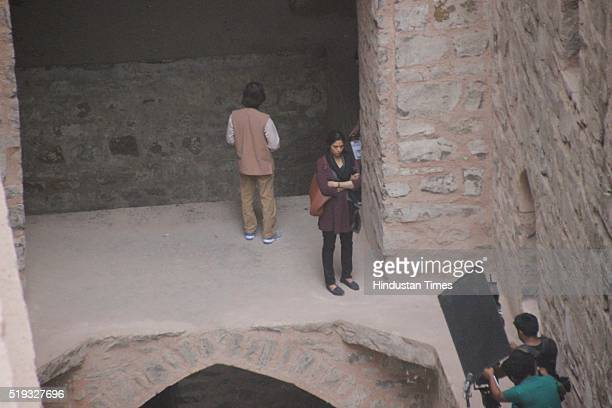 Bollywood actor Sridevi spotted while shooting for upcoming movie 'Mom' at Agrasen Ki Baoli on April 4, 2016 in New Delhi, India. The film, directed...