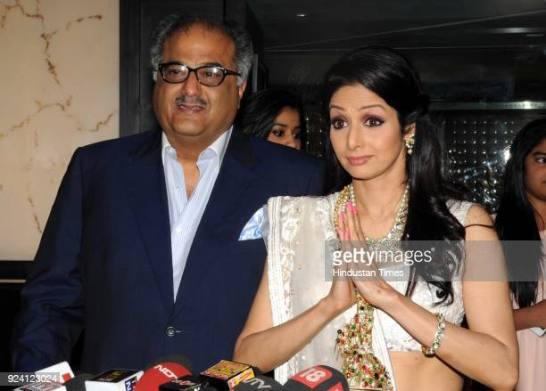 Bollywood actor Sridevi with Boney Kapoor during a Sahara supreme Subroto Roy's party to felicitate Sridevi on winning the Padma Shri award on April...