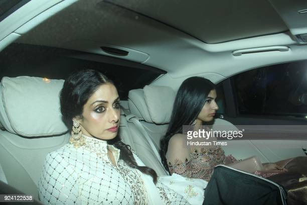 Bollywood actor Sridevi with daughter Khushi Kapoor attended a Diwali party on October 29 in Mumbai India Sridevi the actor wife of producer Boney...