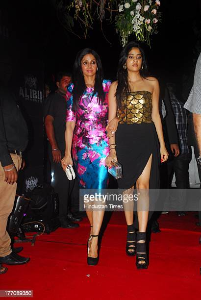 Bollywood actor Sridevi with her daughter Jhanvi Kapoor during the celebration of Sridevi's 50th birthday at Alibi Colaba on August 17 2013 in Mumbai...