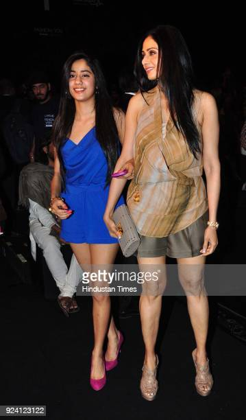 Bollywood actor Sridevi with her daughter Jhanvi on Day 4 Lakme Fashion Week after party at Grand Hyatt Santacruz on March 5 in Mumbai India Sridevi...