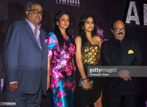 Bollywood actor Sridevi with her husband Boney Kapoor and daughter Jhanvi Kapoor and Indian politician Amar Singh during the celebration of Sridevi's...