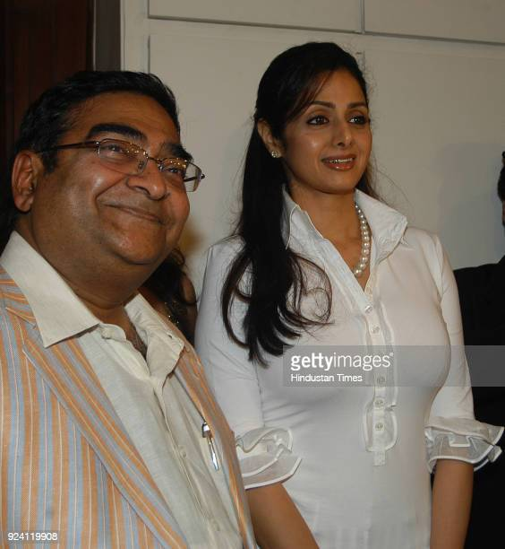 Bollywood actor Sridevi with Mukesh Batra during the launch of Colours of Life at The Fourth Floor at Fort on March 26 2008 in Mumbai India Sridevi...