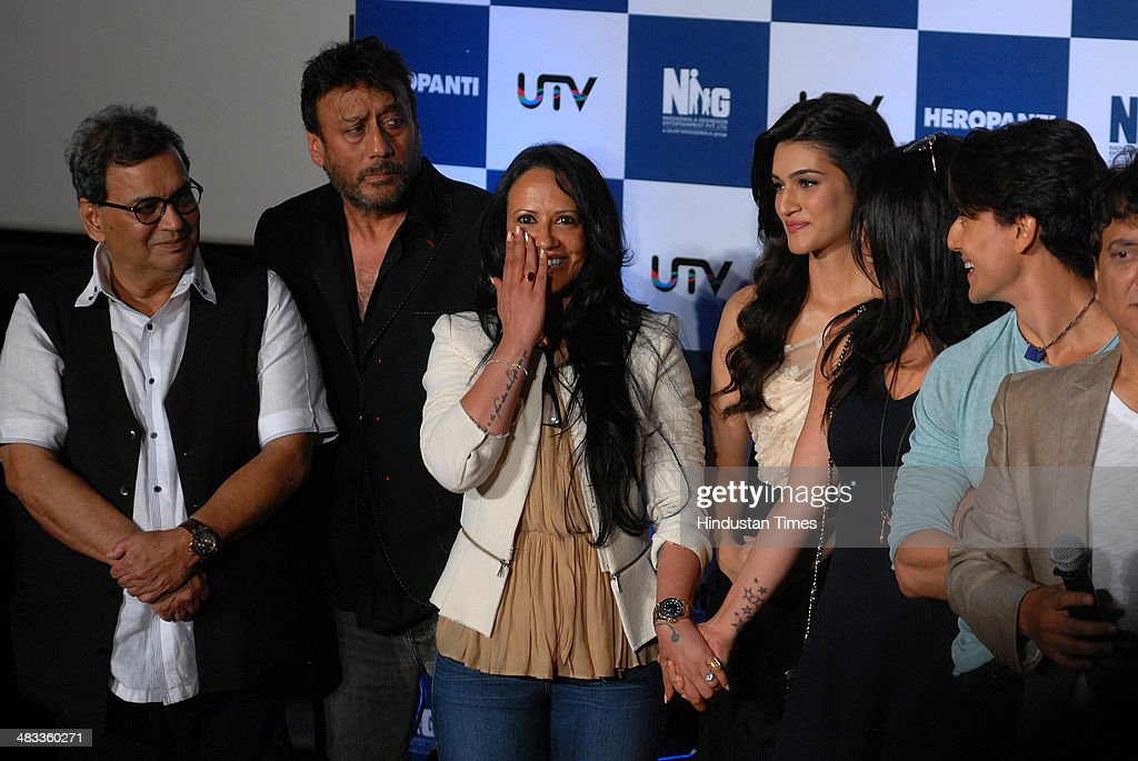Bollywood actor Subash Ghai actor Jackie Shroff with wife Ayesha Shroff Kriti Sanon Krishna Shroff and Tiger Shroff during the trailer launch of film.