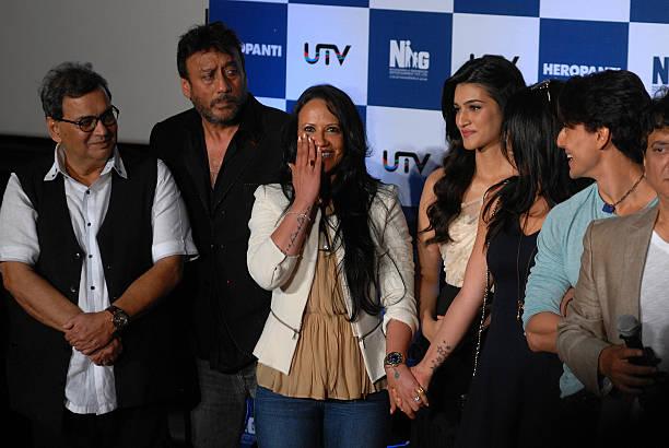 Bollywood actor Subash Ghai actor Jackie Shroff with wife Ayesha Shroff Kriti Sanon Krishna Shroff and Tiger Shroff during the trailer launch of film.