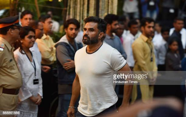 Bollywood actor Suniel Shetty during a condolence meeting of late actor Shashi Kapoor at Prithvi Theatre Juhu on December 7 2017 in Mumbai India...