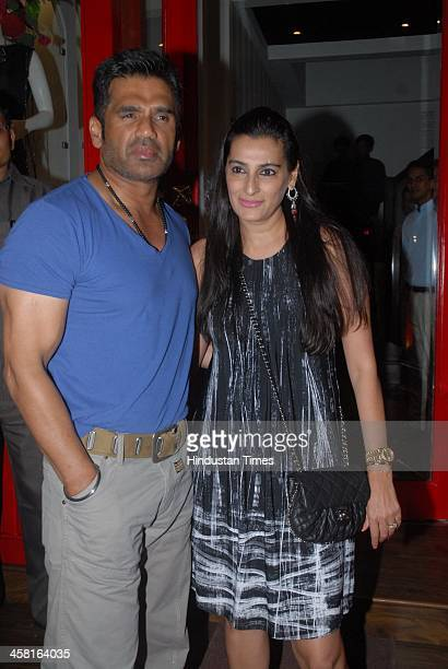 Bollywood actor Suniel Shetty with Mana Shetty at the launch of Bandra 190 a luxury concept retail boutique coowned by Sussanne Seema Khan and Maheep...