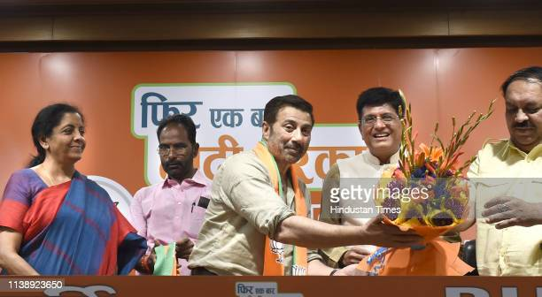 Bollywood actor Sunny Deol joins Bharatiya Janata Party in the presence of Union Ministers Piyush Goyal and Nirmala Sitharaman at BJP headquarters on...