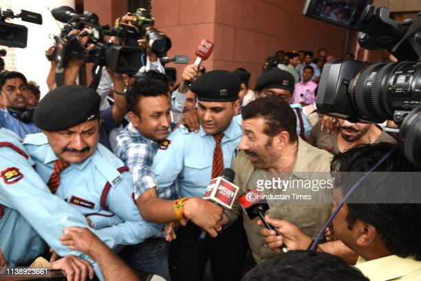 Bollywood actor Sunny Deol speaks to the media after joining Bharatiya Janata Party at BJP headquarters on April 23 2019 in New Delhi India The...
