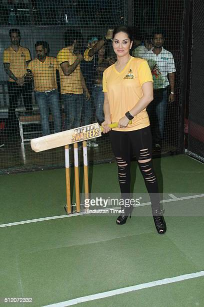 Bollywood actor Sunny Leone during the launch of her Box Cricket team 'Chennai Swaggers' for BCL season 2 on February 22 2016 in Mumbai India
