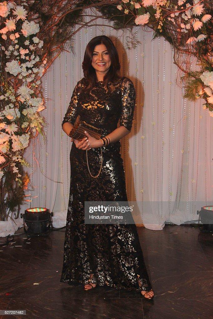 Bollywood actor Sushmita Sen at wedding reception of couple Bipasha Basu and Karan Singh on April 30 2016 in Mumbai India Bipasha Basu got married to.