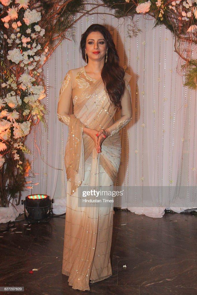 Bollywood actor Tabu at wedding reception of couple Bipasha Basu and Karan Singh on April 30 2016 in Mumbai India Bipasha Basu got married to Karan...