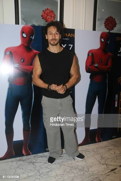 Bollywood actor Tiger Shroff during the screening of movie Spiderman at Le Reve Bandra Hill Road on July 6 2017 in Mumbai India