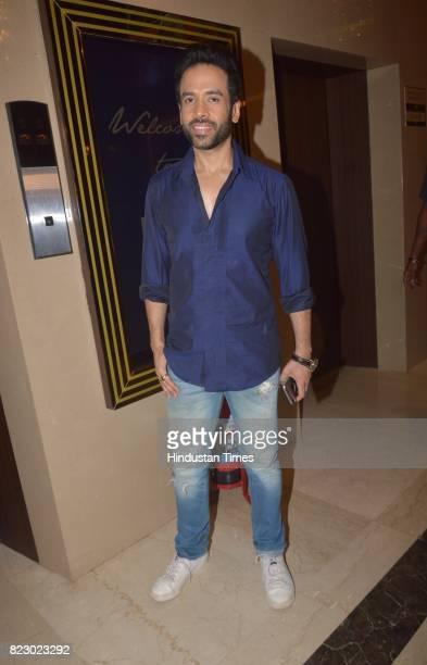 Bollywood actor Tusshar Kapoor at the music launch of Marathi Film Bhikari on July 23 2017 in Mumbai India