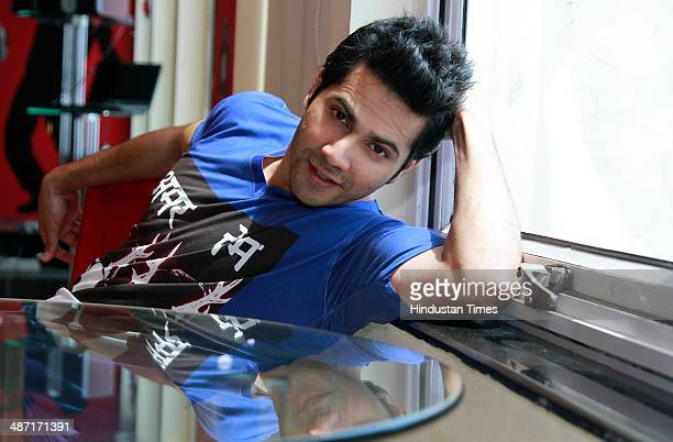 Bollywood actor Varun Dhavan pose for a photo session duing promotion of his upcoming film Mein Tera Hero on April 2 2014 in New Delhi India Main...