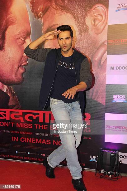 Bollywood actor Varun Dhawan during the success party of the film Badlapur on February 27 2015 in Mumbai India