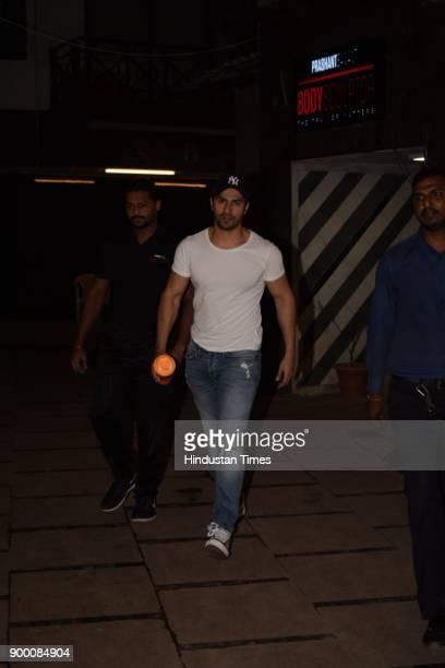 Bollywood actor Varun Dhawan spotted at gym on December 28 2017 in Mumbai India