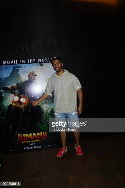 Bollywood actor Varun Dhawan spotted during the special screening of a Hollywood movie Jumanji Welcome to the Jungle at Lightbox Santacruz on January...