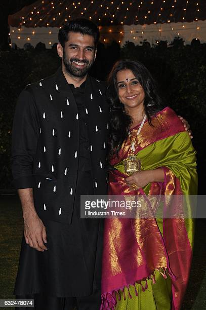 Bollywood Actor Vidya With Brotherinlaw Aditya Roy Kapur During Wedding Reception Of Trishya Vala Daughter