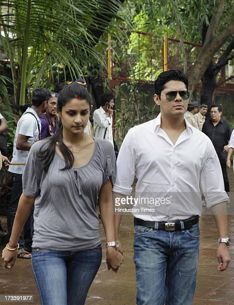 Bollywood actor Vishal Malhotra arrives to pay his last respects to Bollywood actor Pran during the cremation at Shivaji Park Crematorium Dadar on...