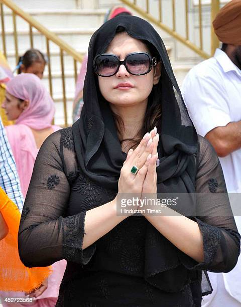Bollywood actor Zarine Khan paying obeisance at Golden Temple on July 26 2014 in Amritsar India