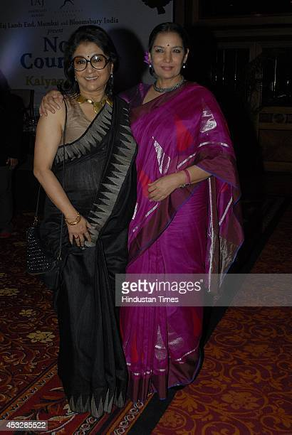 Bollywood actordirector Aparna Sen with actor Shabana Azmi during the launch of Kalyan Rays book No Country at Taj Landsend Hotel Bandra on August 5...
