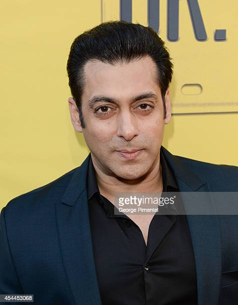 Bollywood actor/producer Salman Khan arrives at the Canadian Premiere of Dr Cabbie held at Scotiabank Theatre on August 31 2014 in Toronto Canada