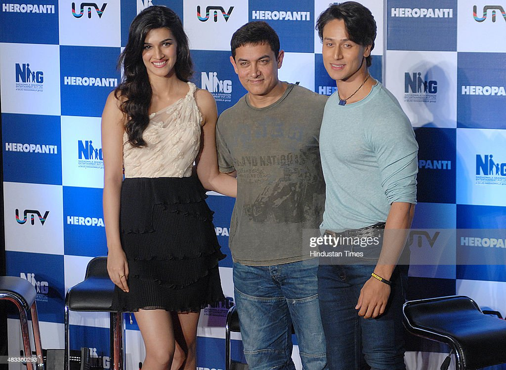 Bollywood actors Aamir Khan Jackie Shroff and Kriti Sanon during the trailer launch of film Heropanti on April 04 2014 in Mumbai India