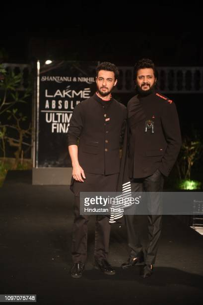 Bollywood actors Aayush Sharma and Ritesh Deshmukh walk for the designer duo Shantanu Nikhil at Lakme Fashion Week Summer/Resort 2019 at Jio Garden...