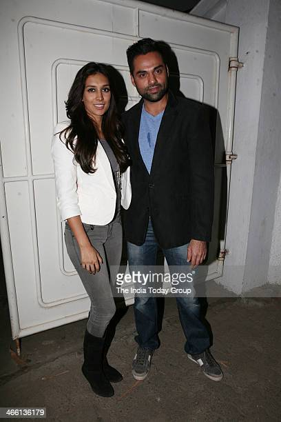 Bollywood actors Abhay Deol and Preeti Desai at the Special Screening of film One by Two at Sanny super sound studio Juhu Mumbai on 30th January 2014