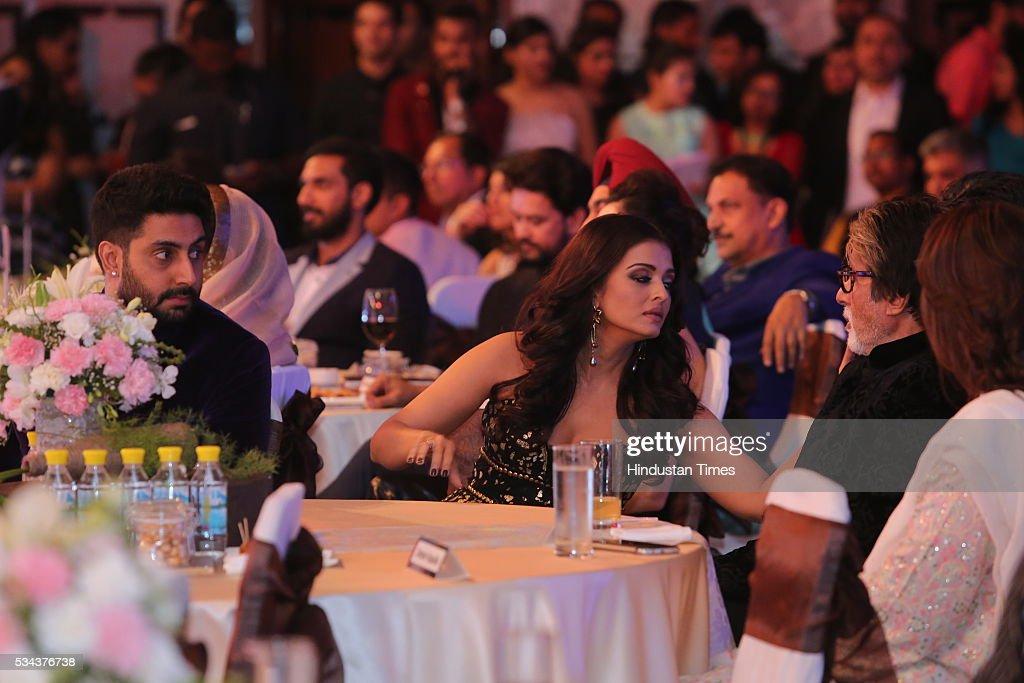 Bollywood actors Abhishek Bachchan Aishwarya Rai Bachchan and Amitabh Bachchan during the sixth edition of Hindustan Times Most Stylish Awards 2016...