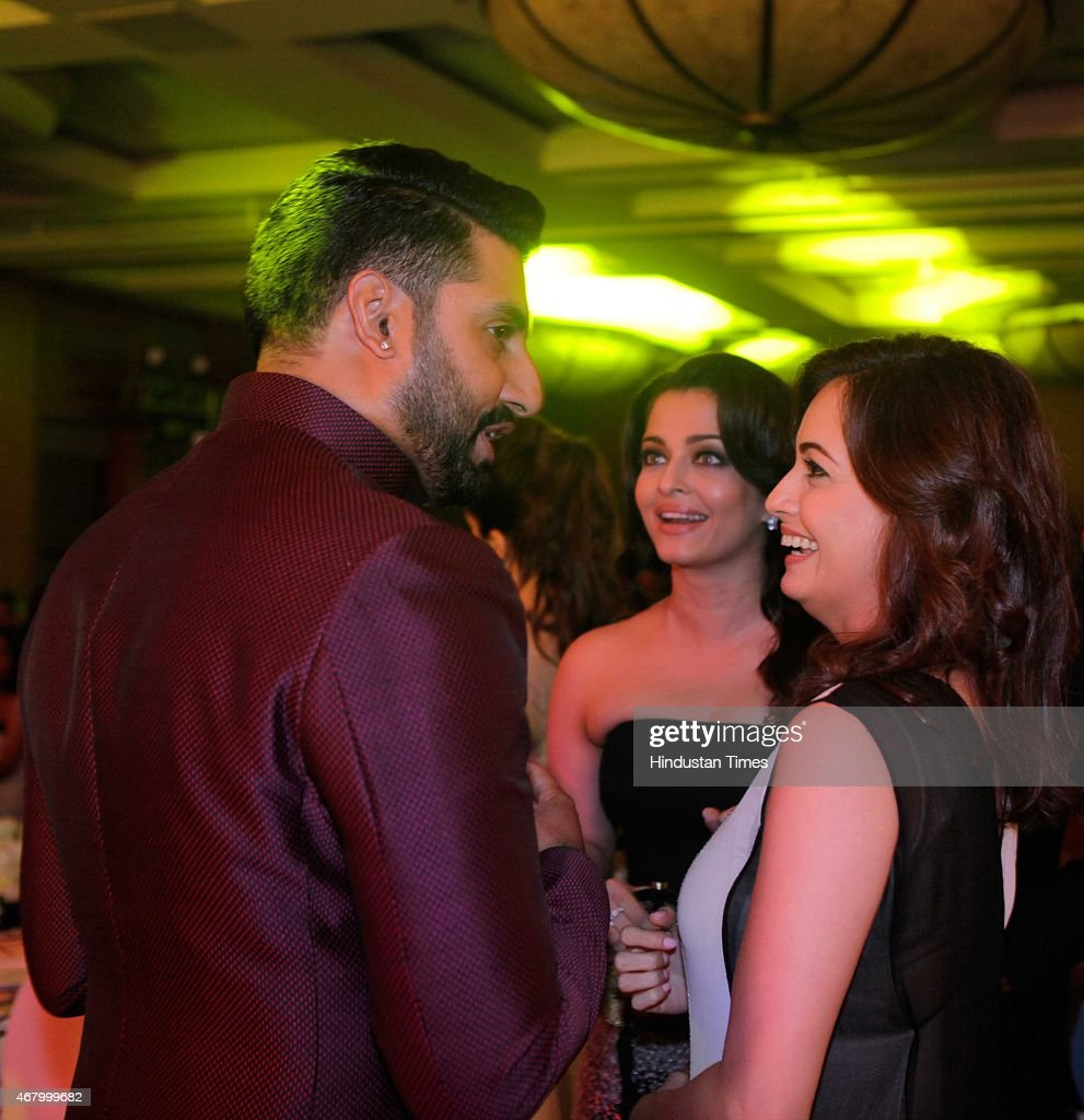 Bollywood actors Abhishek Bachchan Aishwarya Rai Bachchan and Dia Mirza during the Hindustan Times Mumbai`s Most Stylish Awards 2015 at JW Mariott...