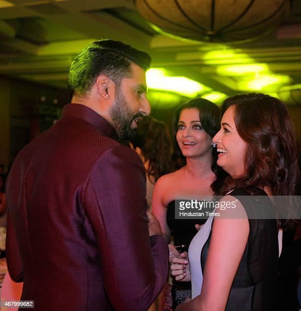 Bollywood actors Abhishek Bachchan Aishwarya Rai Bachchan and Dia Mirza during the Hindustan Times Mumbai's Most Stylish Awards 2015 at JW Mariott...