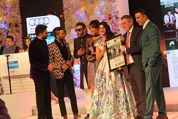 Bollywood actors Abhishek Bachchan Jacqueline Fernandez Riteish Deshmukh Jackie Shroff Akshay Kumar and Lisa Haydon during the sixth edition of...