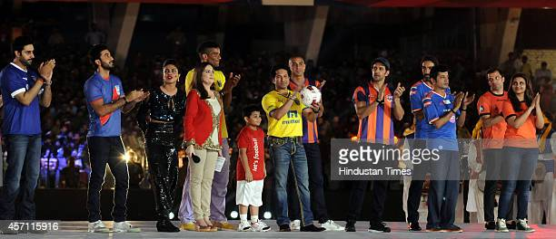Bollywood actors Abhishek Bachchan Ranbir Kapoor Priyanka Chopra Nita Ambani former cricketer Sachin Tendulkar and actor Hrithik Roshan during the...