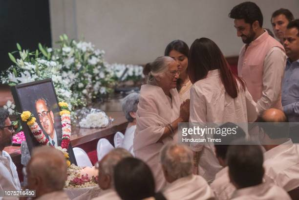 Bollywood actors Aishwarya Rai Bachchan and Abhishek Bachchan attend the prayer meet of former mayor of Mumbai and social activists Nana Chudasama at...