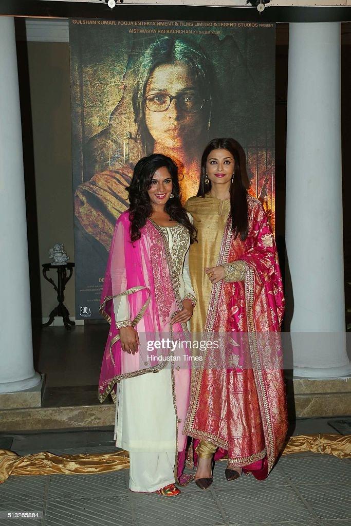 Bollywood actors Aishwarya Rai Bachchan and Richa Chaddha during a poster launch of film Sarbjit at Bharatiya Janata Party President Amit Shah`s...