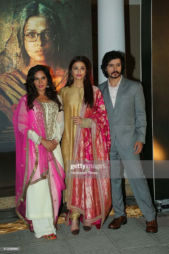 Bollywood actors Aishwarya Rai Bachchan Darshan Kumar and Richa Chaddha during a poster launch of film Sarbjit at Bharatiya Janata Party President...