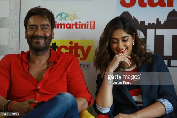 Bollywood actors Ajay Devgn and Ileana D'Cruz during an exclusive interview with HT CityHindustan Times for the promotion of upcoming movie...