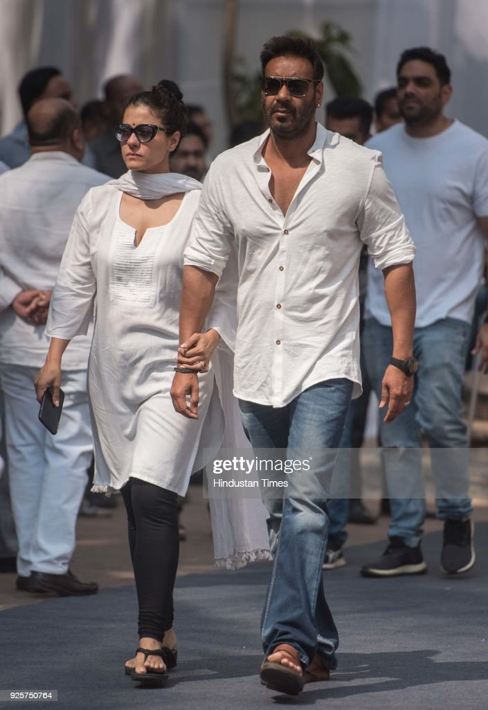 Bollywood actors Ajay Devgn and Kajol at celebration club to pay last respect to the late actor Sridevi at Andheri on February 28 2018 in Mumbai...