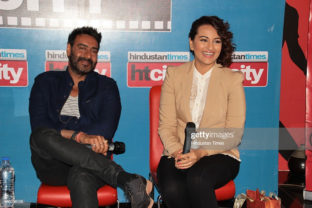 Bollywood actors Ajay Devgn and Sonakshi Sinha during an exclusive interview with HT City for the promotion of their new movie Action Jackson at HT...