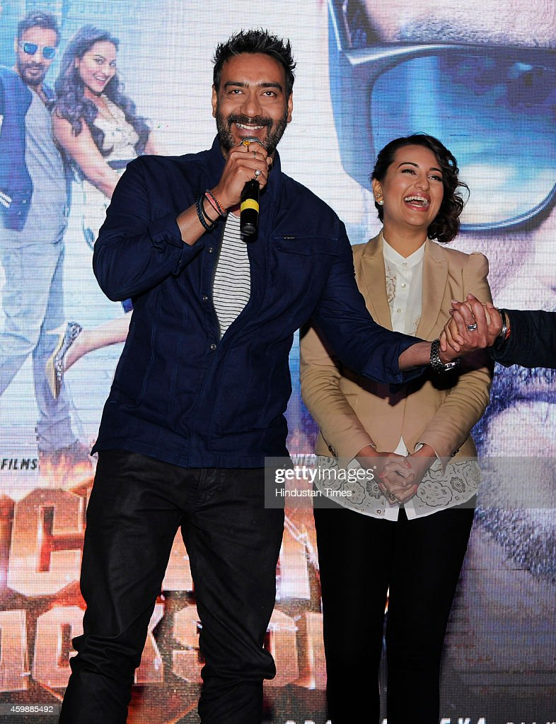 Bollywood actors Ajay Devgn and Sonakshi Sinha during the promotion of their upcoming movie Action Jackson at The Great India Place mall on December..