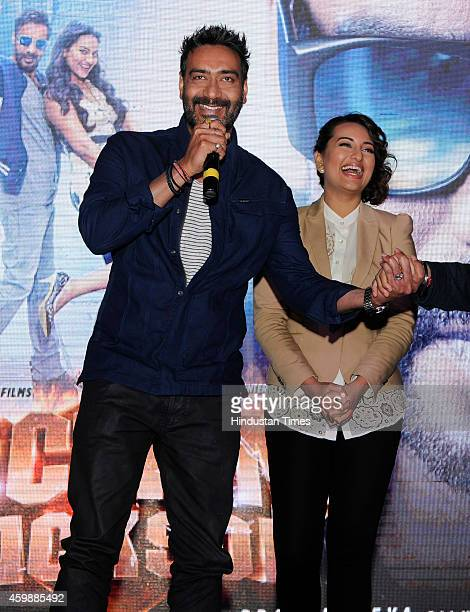 Bollywood actors Ajay Devgn and Sonakshi Sinha during the promotion of their upcoming movie Action Jackson at The Great India Place mall on December...