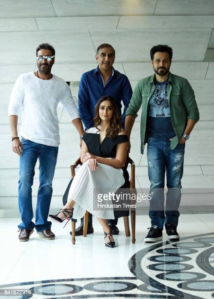Bollywood actors Ajay Devgn Emraan Hashmi Ileana D'cruz and Director Milan Luthria during an exclusive interview with HT CityHindustan Times for the...